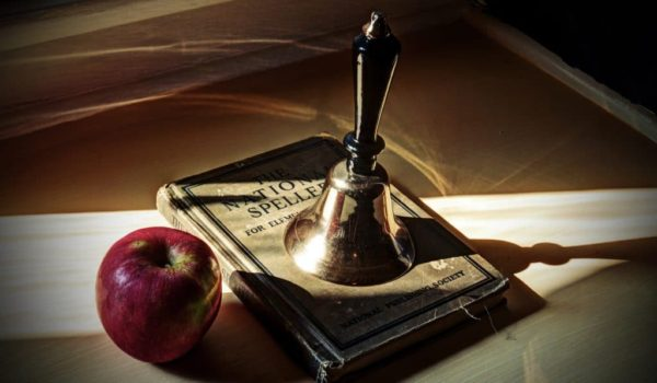 apple, bell, and book to honor teachers at Arsenic & Old Lace in Eureka Springs, AR